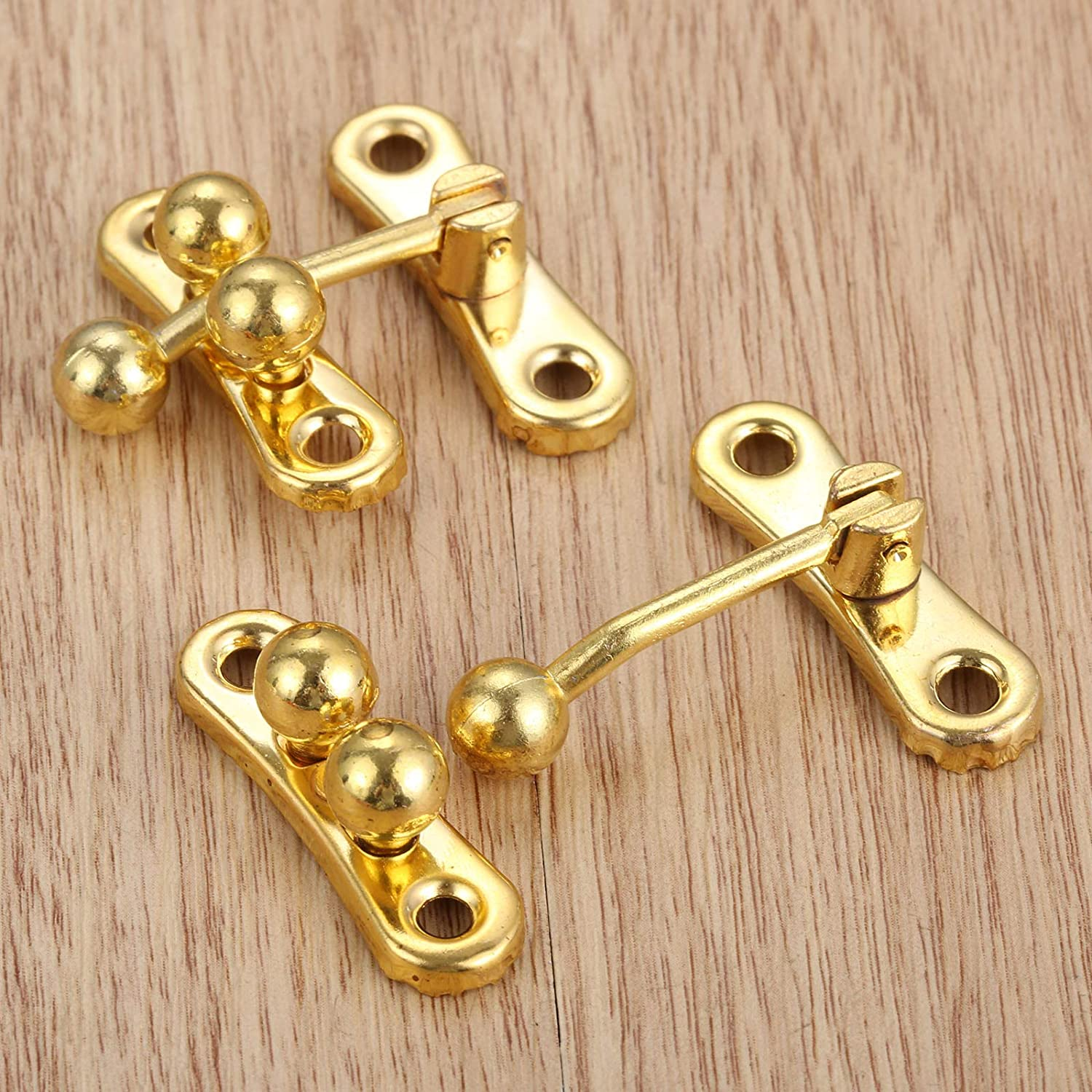 2 Pcs Three Beads Latch Hasps with 8 Screws Clasp Latch Lock for Chests Trinket Boxes and Toolboxs Gold Boxes