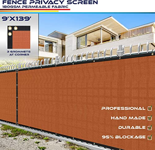 Windscreen4less Fence Privacy Screen 9 x 139 , Orange, Pergola Shade Cover Patio Canopy Sun Block,180 GSM, 95 Privacy Blockage, Mesh Fabric with Brass Gromment, Customized