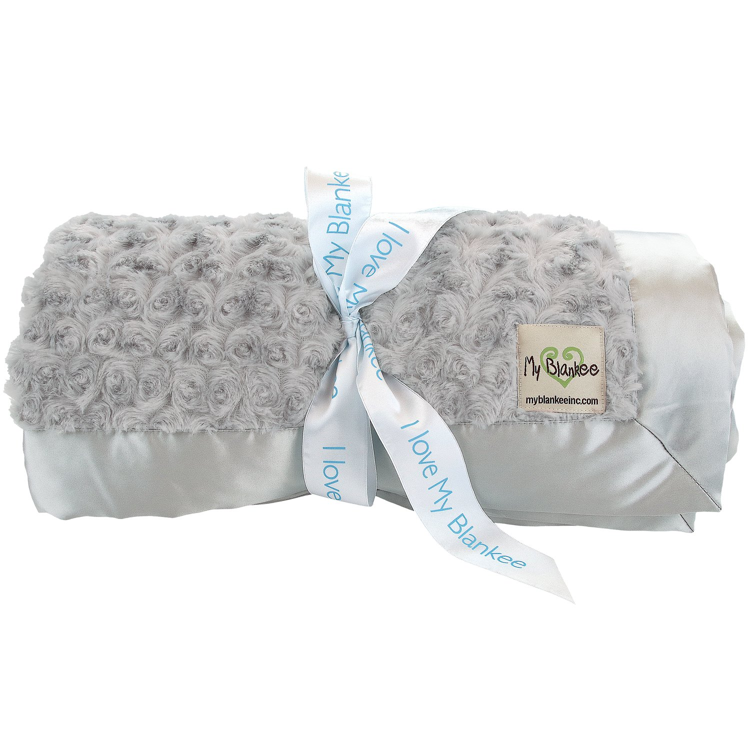 My Blankee Snail Luxe Throw Blanket with Flat Satin Border, Silver, 52'' X 60''