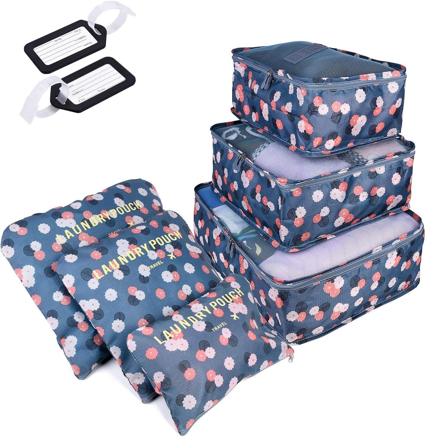 6 PCS Organizadores de Viaje para Maletas, Bolsas de Equipaje Impermeable Cubos Embalaje de Viaje Bolsas de Almacenamiento para Ropa Zapatos, Cosméticos Accesorios, Material Nylon (Azul Flor)
