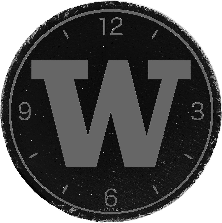 one Size Timeless Etchings NCAA Washington Huskies Slate Clock-Washington Black