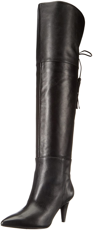 Women's Josephine Black Leather Over the Knee Stiletto Heel Boots