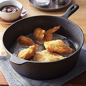 """BrylaneHome 12"""" Cast Iron Chicken Fryer, Black"""