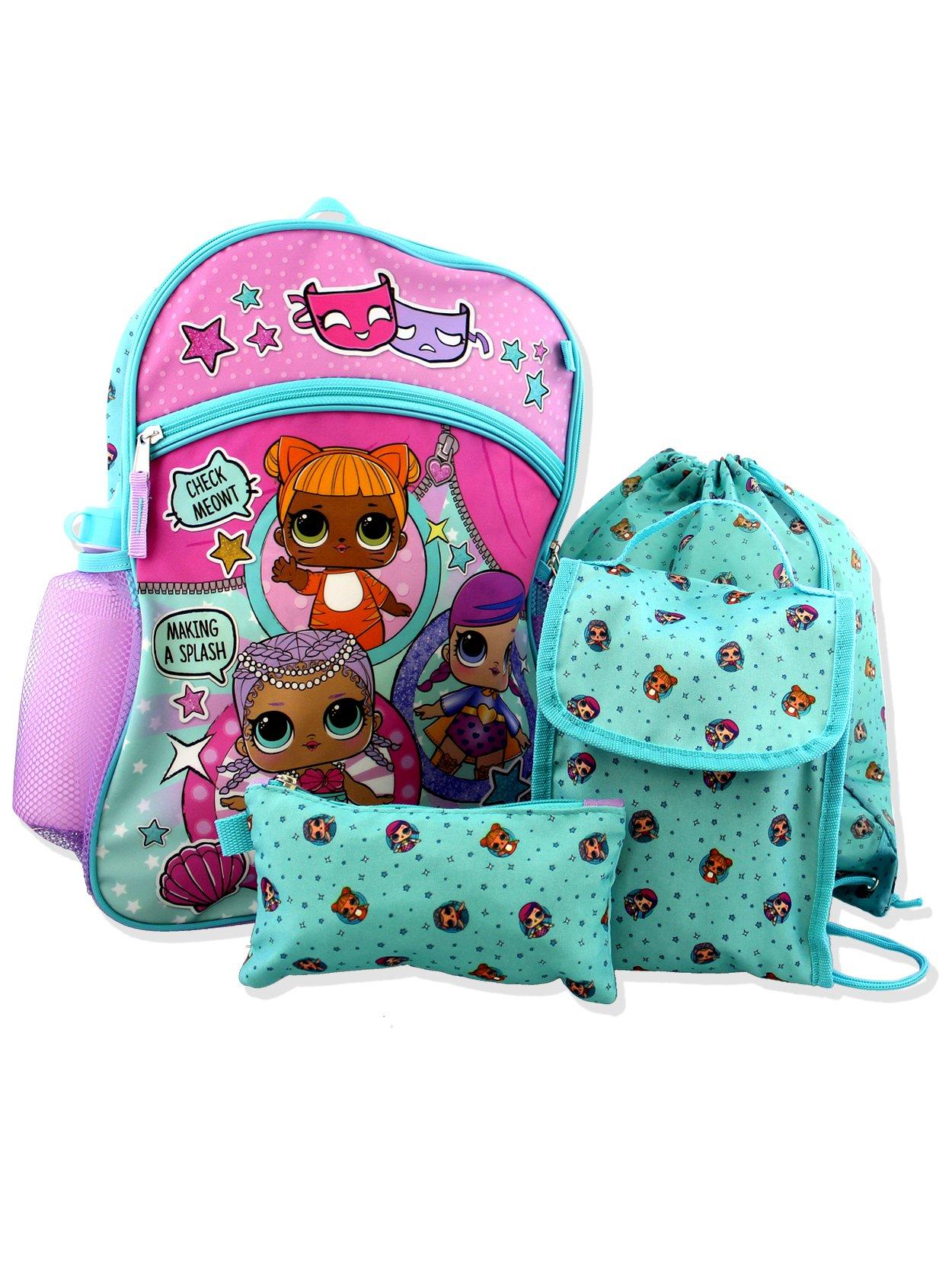 L.O.L Surprise! 5 Piece Backpack School Set (Blue/Pink)