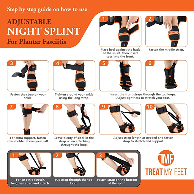 Orthotics Support for Achilles Tendonitis Breathable Comfy Plantar Fasciitis Support w//Advanced Stretching Mechanism Men - 12-13, Women - 14-15 Drop Foot /& Pain Plantar Fasciitis Night Splint