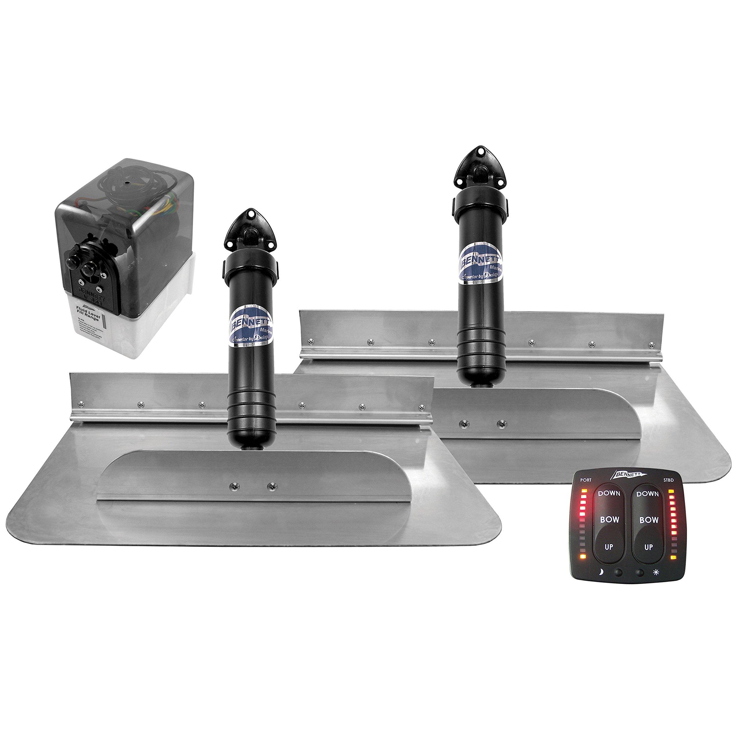 Bennett Marine 18'' x 12'' Bennett 1812EIC Hydraulic Trim Tab Set with Electronic Indicator Control-18 x 12''
