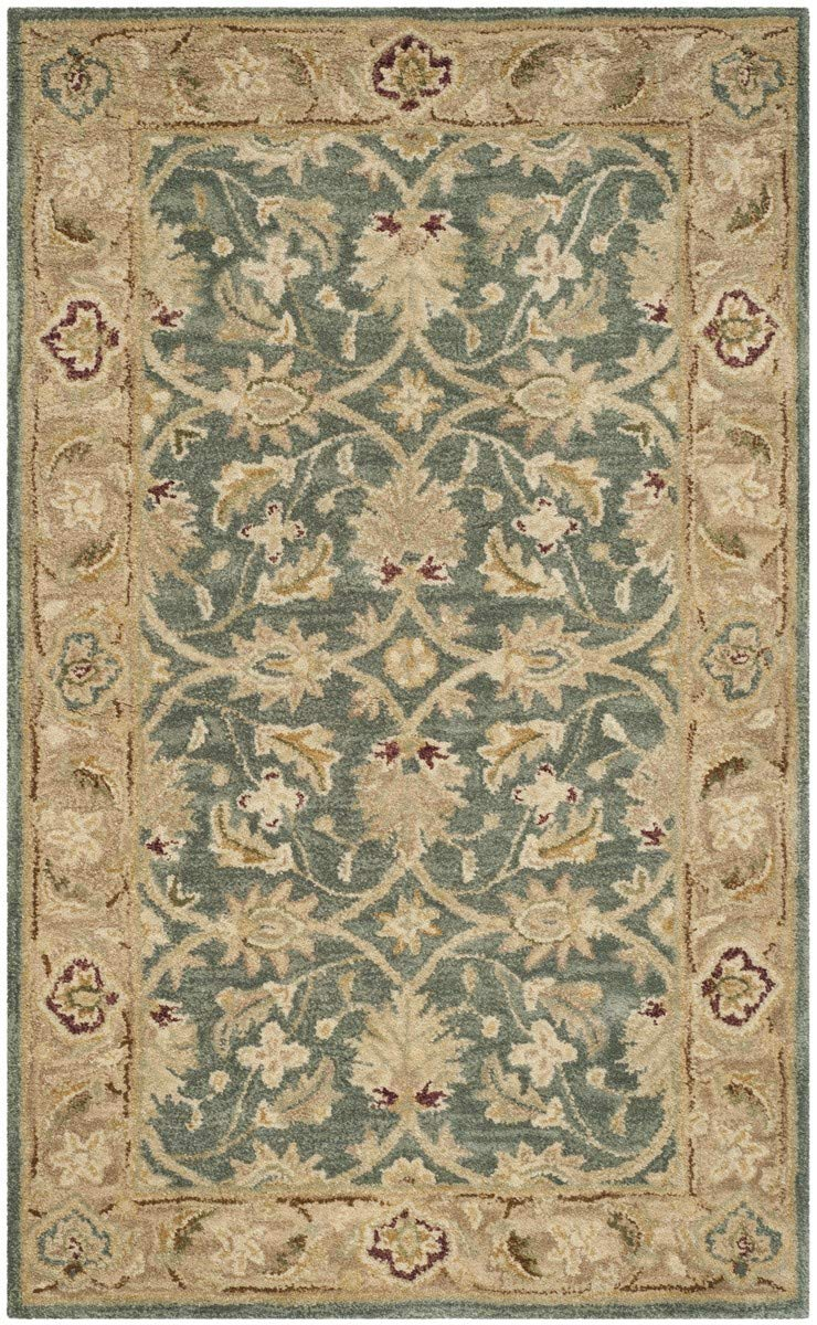 Safavieh Antiquities Collection AT849B Handmade Traditional Oriental Teal Blue and Taupe Wool Area Rug 3 x 5