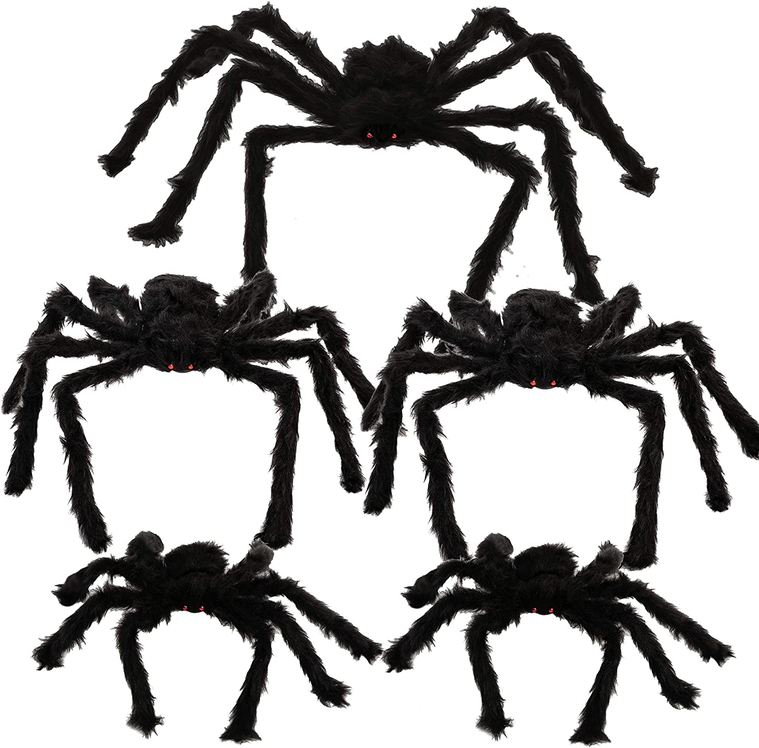 "Halloween Realistic Hairy Spiders Set (5 Pack), Halloween Spider Props, Scary Spiders with Different Sizes for Indoor and Outdoor Decorations (35"", 30"", 30"", 24"", 24"")"