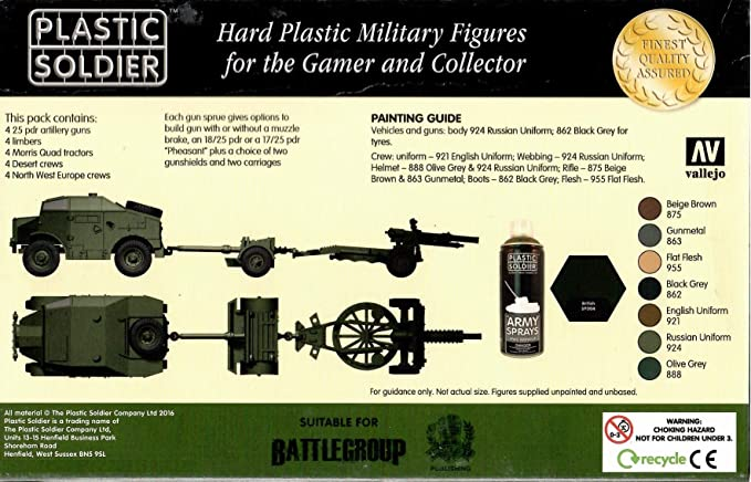 PLASTIC SOLDIER COMPANY 15MM BRITISH 25PDR /& MORRIS QUAD TRACTOR SPRUE