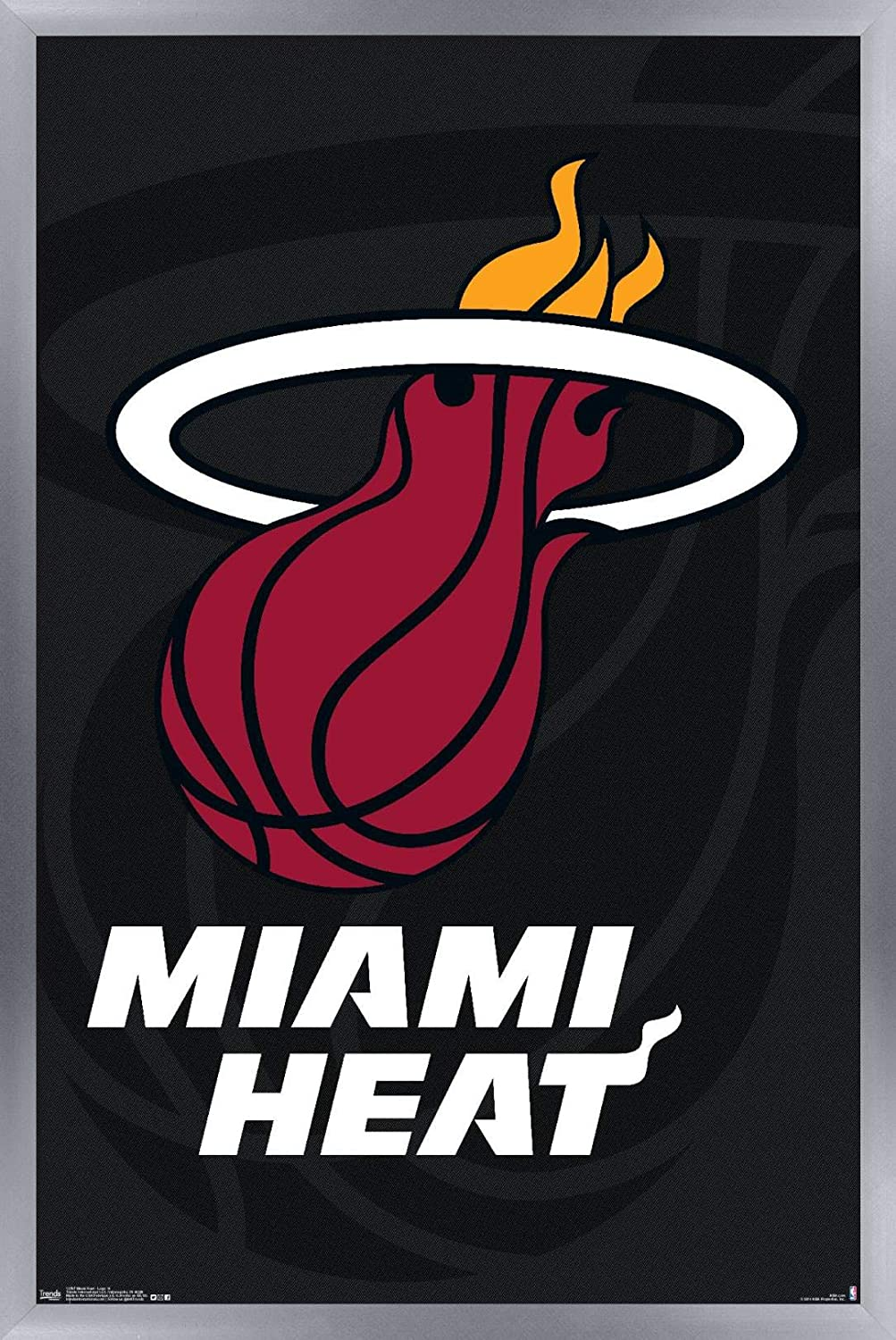 Amazon Com Trends International Nba Miami Heat Logo 14 Wall Poster 14 725 X 22 375 Silver Framed Version Home Kitchen