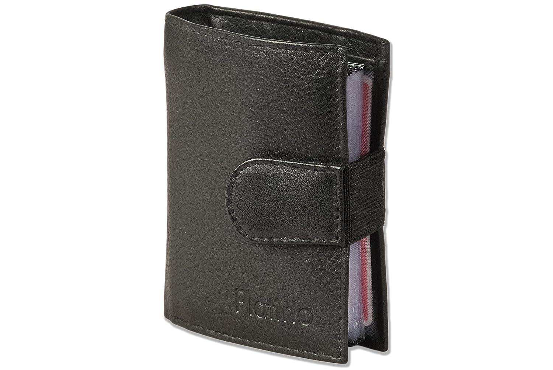 Platino - Monedero Super-compacto con XXL tarjeteros para tarjetas de 16 hechos de cuero natural con negro: Amazon.es: Zapatos y complementos