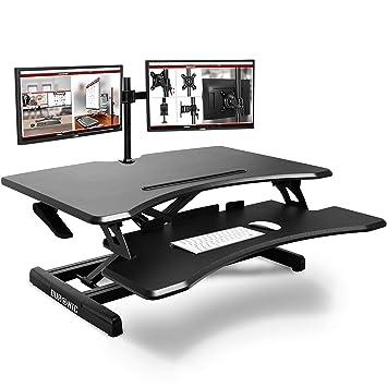 Duronic DM05D16 - Soporte de mesa para ordenador (altura ajustable, monitor y elevador de