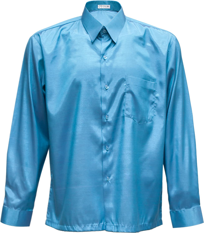 Hombres camisa de manga larga de seda tailandesa turquesa, turquesa, mediano: Amazon.es: Hogar