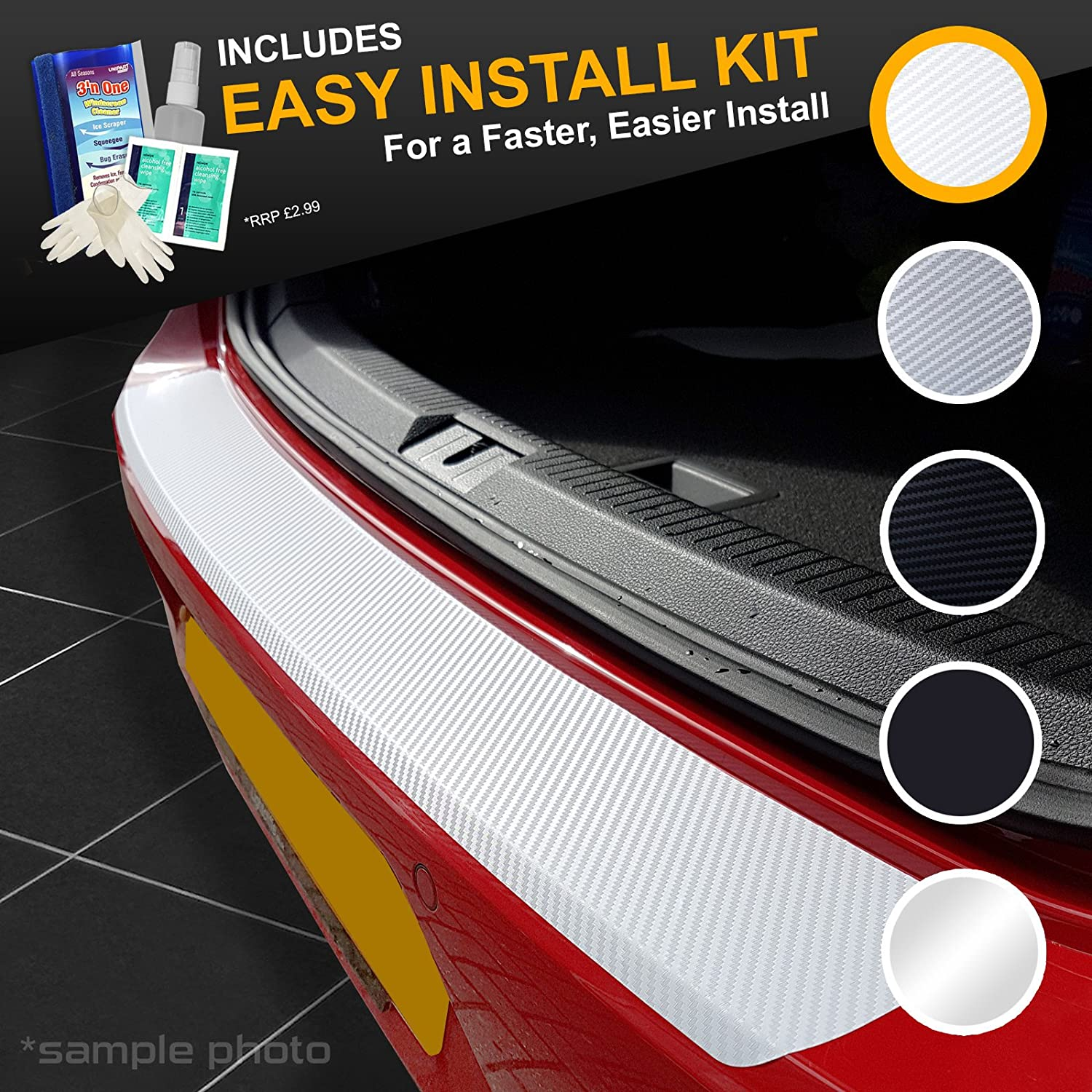 carmats4u White Carbon Vinyl Bumper Lip Protector//Self Adhesive//Easy Install Kit Included