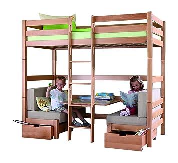 Hochbett 90x200 Mit Sitzbänken Buche Etagenbett Kinderbett Stockbett