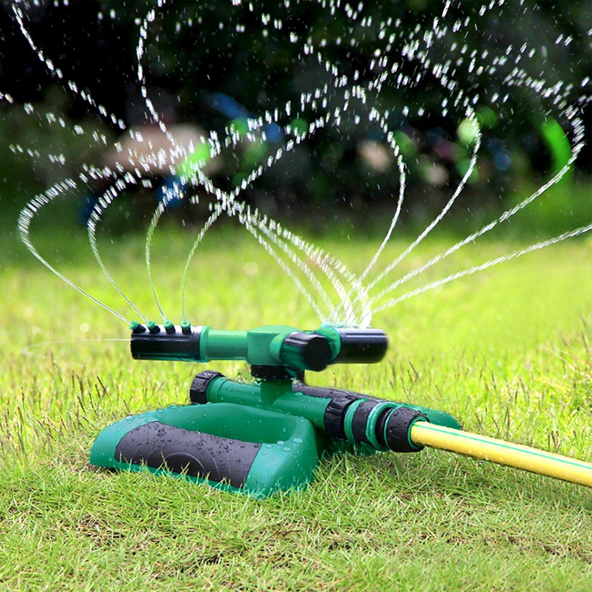 Homeme Garden Sprinkler, Automatic 360° Rotating Water Sprinkler with 3 Arm Round Sprayer for Gardens & Lawns Irrigation