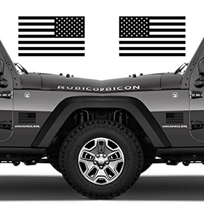 "Classic Biker Gear Subdued American Flags Tactical Military Flag USA Decal 5""x3"" Pair (Gloss Black): Automotive"