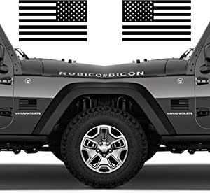 "Classic Biker Gear Subdued American Flags Tactical Military Flag USA Decal 5""x3"" Pair (Matte Black)"