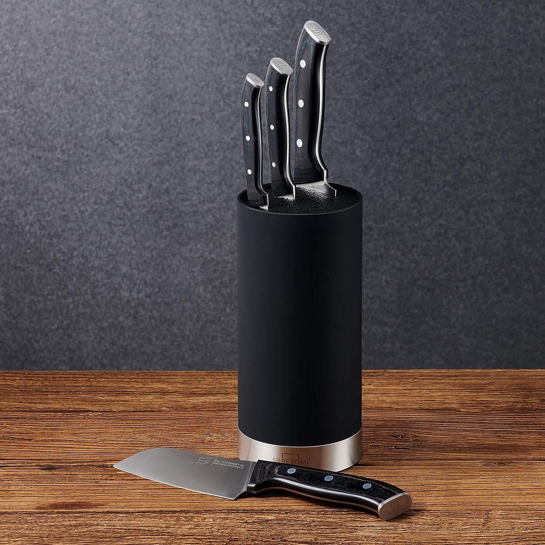 SILBERTHAL Tacoma sin Cuchillos | Soporte para Cuchillos de Cocina | Bloque para Cuchillos Universal | Cuchillero de Cocina Negro con Interior de ...