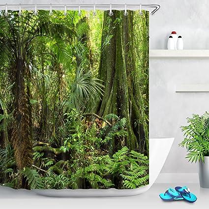 Joocar Rideau de douche en polyester imperm/éable avec 12 crochets Motif paysage de la jungle Marron blanc