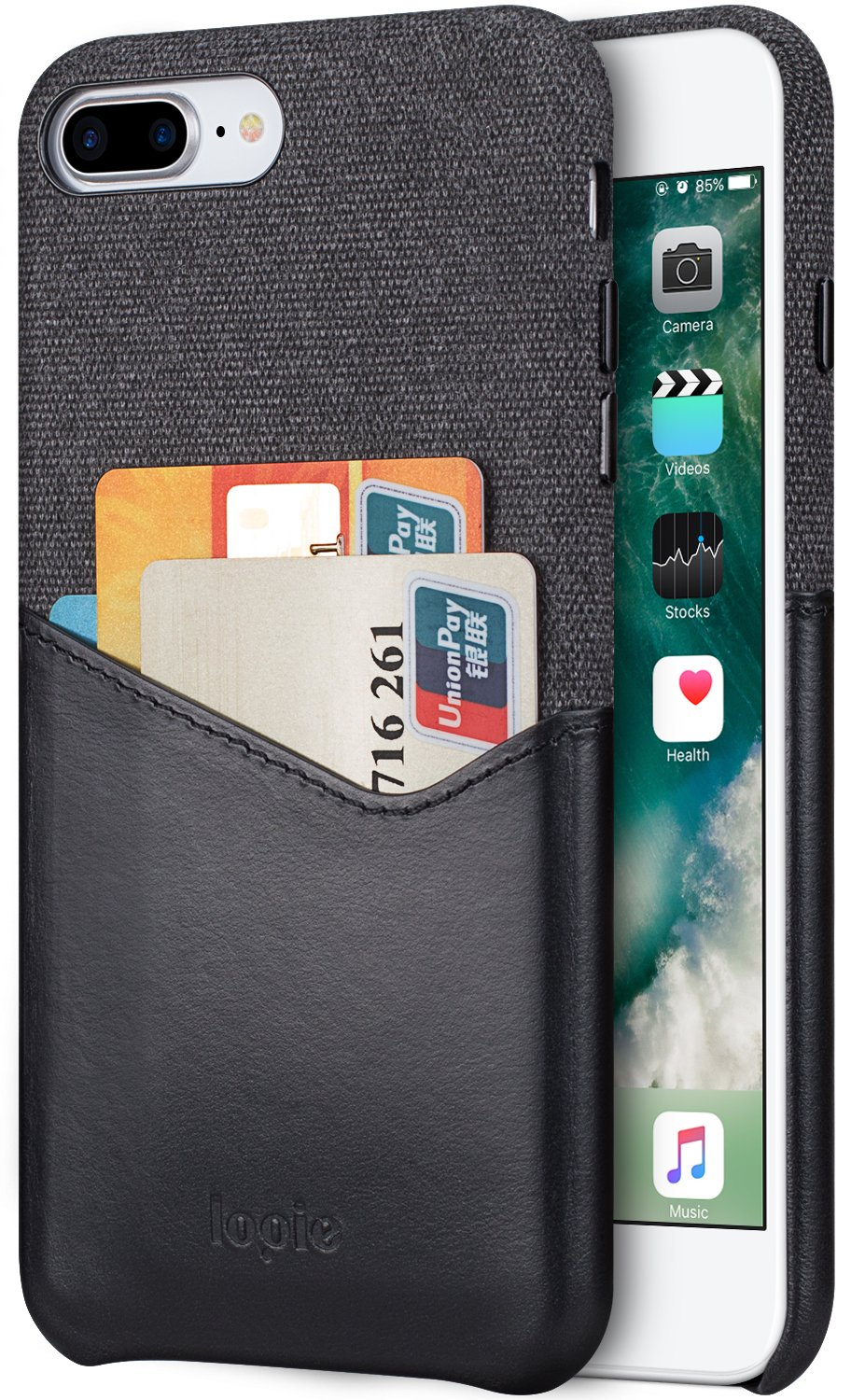 Lopie [Sea Island Cotton Series] Slim Card Case for Apple iPhone 7 Plus and iPhone 8 Plus, Fabric Protection Cover with Leather Card Holder Slot Design, Black