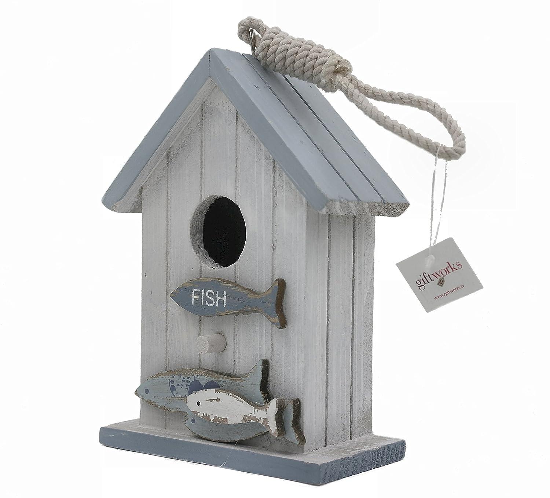 Shabby Chic Nautique Style Nichoir / Maison D'oiseau - Poisson sur l'avant (5813) Giftworks
