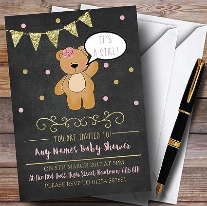 Tiza De Oro Niñas Oso De Peluche Invitaciones Baby Shower