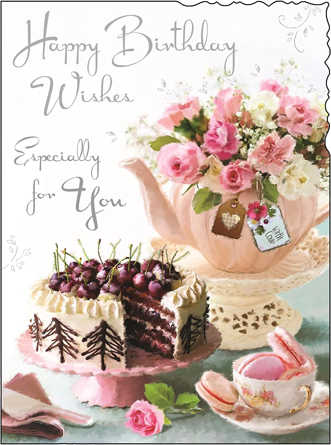Stupendous Greeting Card Jj4436 Female Birthday Pink Teapot And Cake Funny Birthday Cards Online Fluifree Goldxyz