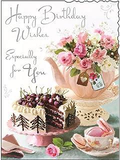 Greeting Card JJ4429 Female Birthday Primroses Foil and