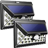 Solar Lights Outdoor, Litom 3RD GEN Super Bright Plating Solar Lights with Motion Sensor, Solar Powered Security Wall Lights 24 LED for Patio, Garage, Garden, Balcony, RV (2 Pack)