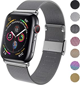 GBPOOT Compatible for Watch Band 38mm 40mm 42mm 44mm, Wristband Loop Replacement Band for Iwatch Series 4,Series 3,Series 2,Series 1,Space Gray,42mm/44mm