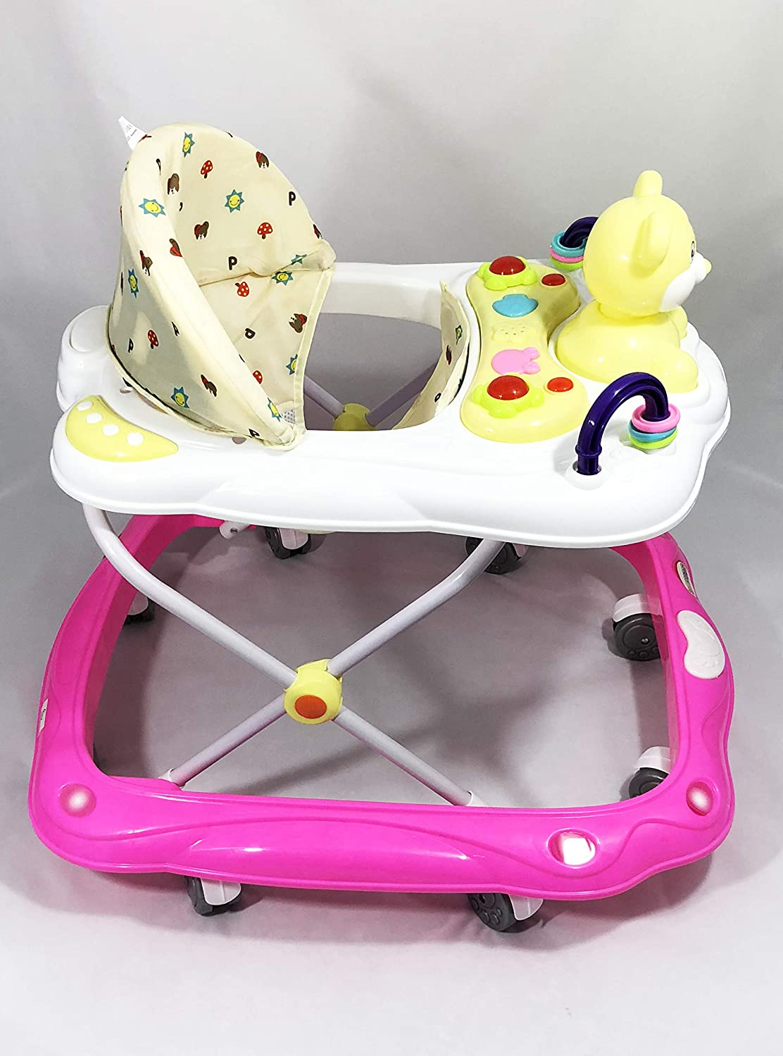 Baby Walker First Steps Push Along Bouncer Activity Music Ride On Music New (Pink 1616) WOODFIELD