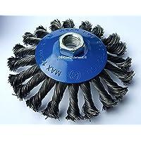 1 conische borstel Ø 125 mm - gevlochten slijpborstel - M14 x 2 staalborstel / kegelborstel / draadborstel