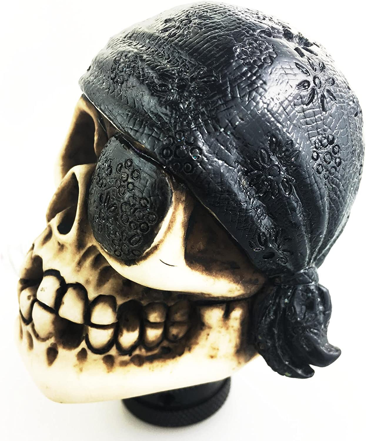 Arenbel Skull Car Lever Knob Universal Gear Stick Shifter Handle Shifting Head of One Eye Pirate Style fit Most MT at Black