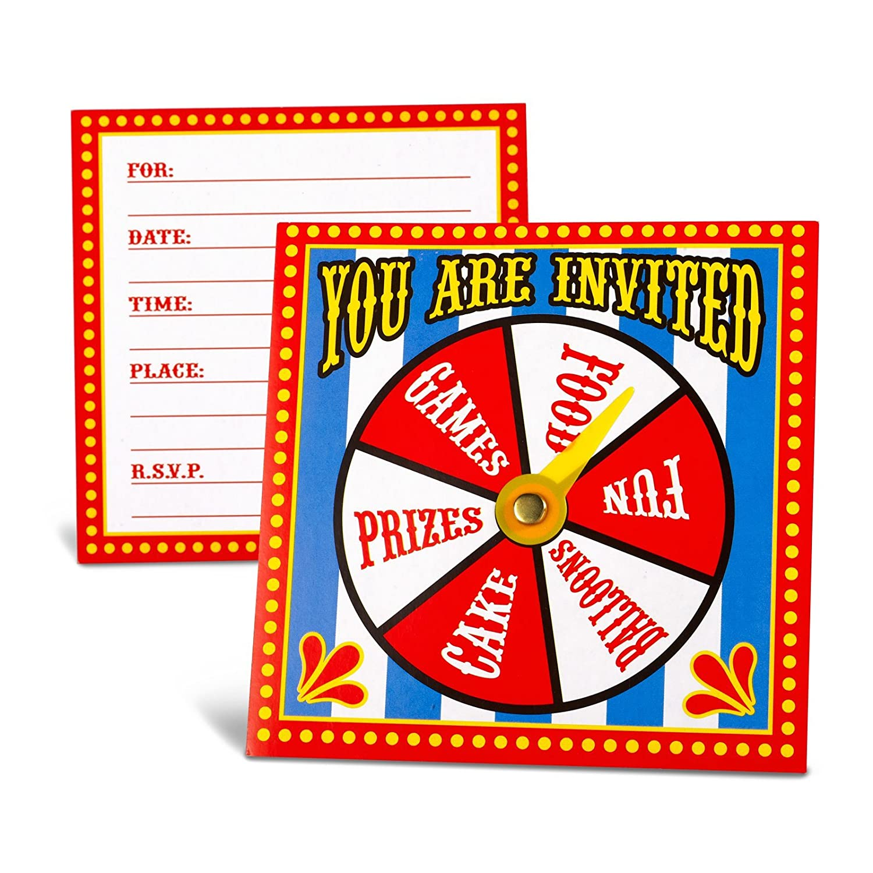 Amazon.com: Fun Express Carnival Spinner Invitations Party Accessory ...