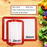 "Decen Silicone Baking Mat - Kitchen & Dining Toaster Oven Mats - Set of 2 (Size: 16.5"" x 11.6"")"