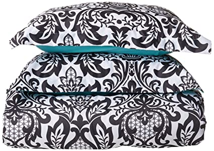 Intelligent Design Leona Comforter Set Full/Queen Size   Black, Aqua,  Damask