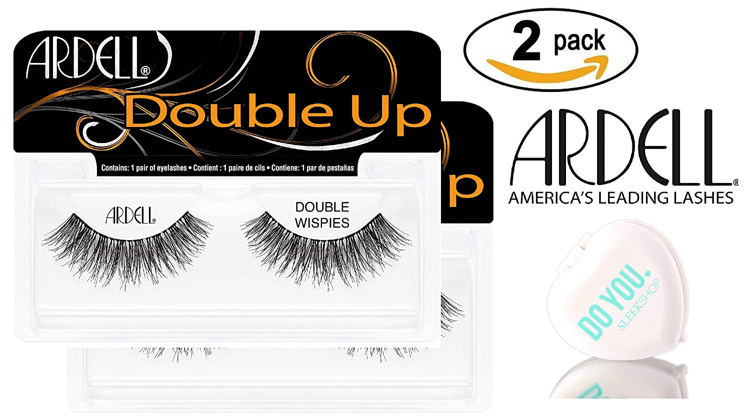 Amazon.com : Ardell Professional DOUBLE UP Lashes, 2-pack (with Sleek Compact Mirror) (204 Black (2-pack)) : Beauty