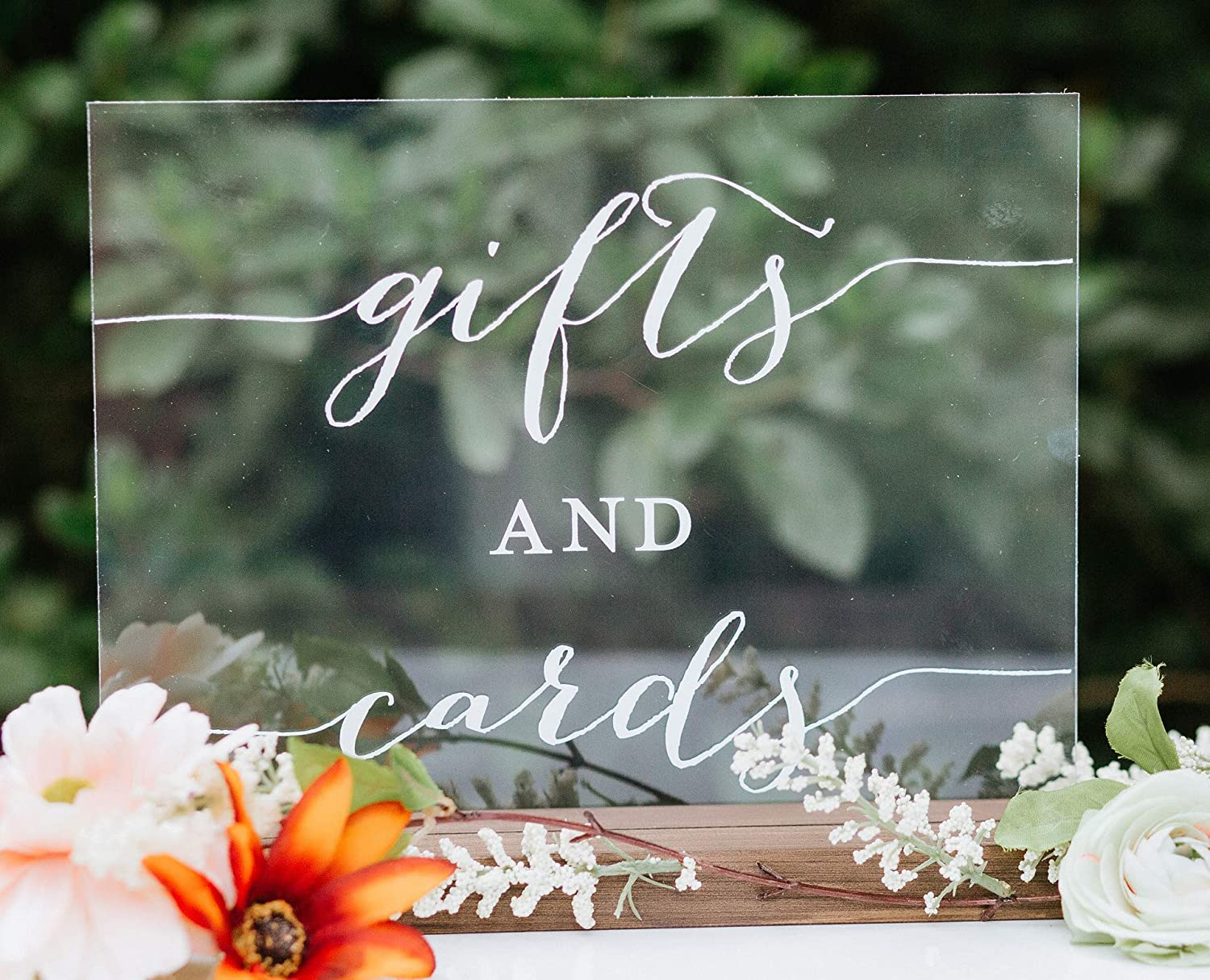 Gifts and Cards Acrylic Custom Modern Wedding Sign Personalized for Display