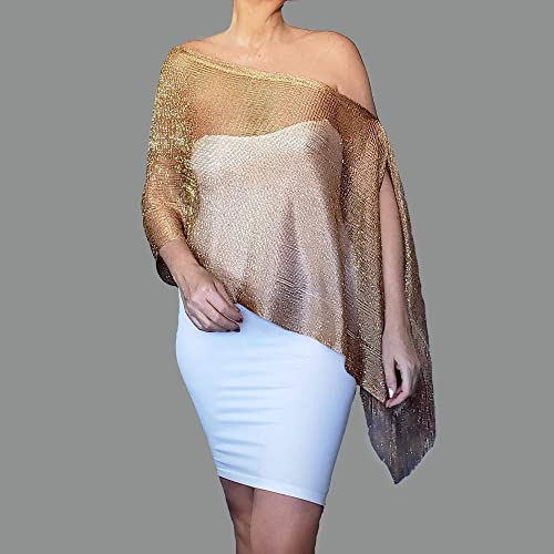 fbc4aaa6c8c Amazon.com  Dark Gold Shawl Sheer Evening Wrap Womens Wedding Clothing By  ZiiCi  Handmade