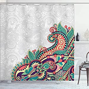 Ambesonne Flowers Shower Curtain, Floral Background with Branches in Tribal Style Paisley Pattern Print, Cloth Fabric Bathroom Decor Set with Hooks, 70