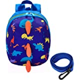 Safety Kids Leash Backpack with 2 in 1 Harness Leash Lunch Boxes Carry Bag Cute Dinosaur for Toddlers Boys Girls Little…