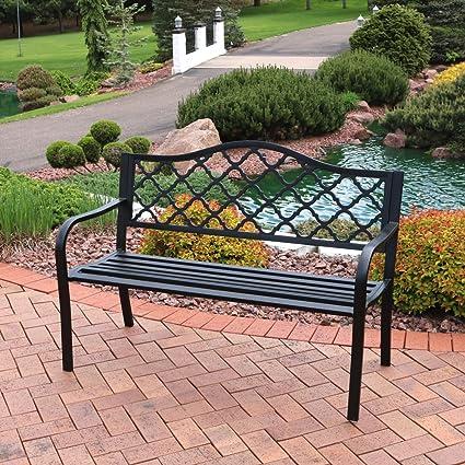 Sunnydaze Outdoor Bench, Garden Or Patio, Cast Iron Metal Lattice, Black
