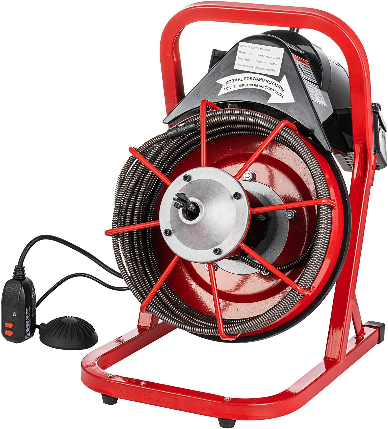 "50/' x 3//8/"" Drain Cleaner Machine 250W W//foot switch Plumbing Machine Sewer Snake"