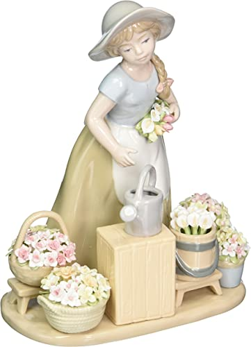 Cosmos 10418 Girl with Flower Baskets Ceramic Figurine, 9-1 8-Inch