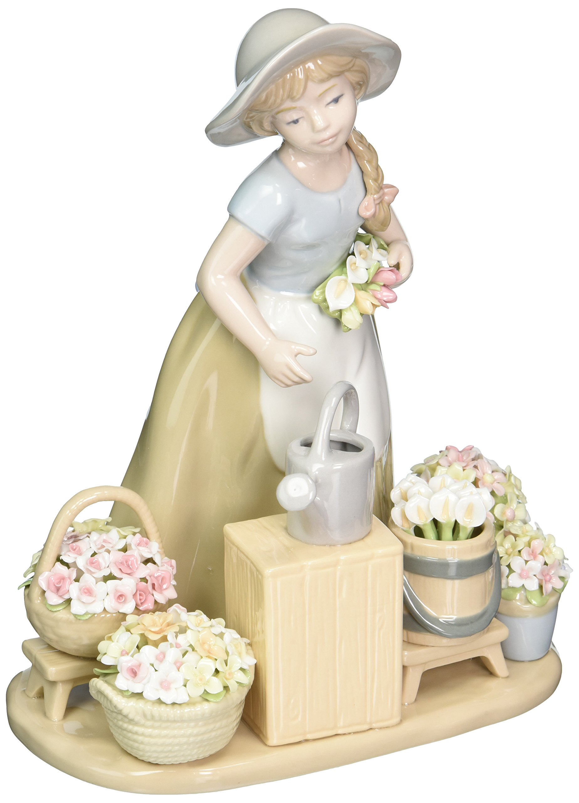 Cosmos 10418 Girl with Flower Baskets Ceramic Figurine, 9-1/8-Inch