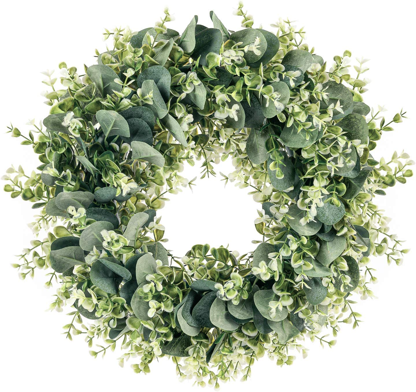 MELAJIA Eucalyptus Wreaths 16 Inch Summer Wreath Artificial Green Leaves Wreaths for Front Door Wall Home Decor Indoor Outdoor