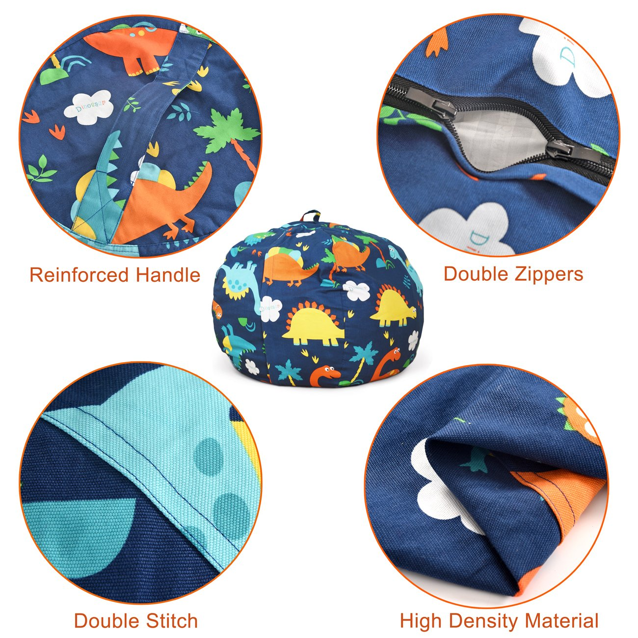 BROLEX 27'' Stuffed Animals Bean Bag Chair Cover-100% Cotton Canvas Kids Toy Storage Zipper Bags Comfy Pouf for Unisex Boys Girls Toddlar, Dinosaur Print by BROLEX (Image #8)