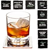 Set of 8 Premium Funny Coasters for Drinks- Large Size 4 inches Square - PLUS 2 Stainless Steel Ball Design Wine Bottle Stoppers - Bar Tools Collection by Prego Unlimited