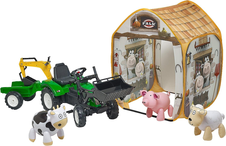 Falk – 2082t – Pedales con Ranch Trac con Silla giratoria y Excavadora/ Remolque/Tienda de campaña y Animales – Verde: Amazon.es: Juguetes y juegos